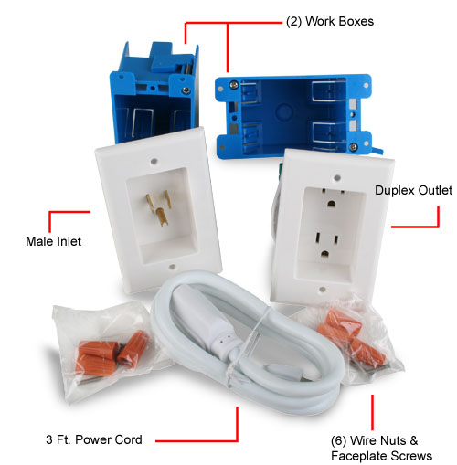 AC in wall extension kit for projectors wall TVs