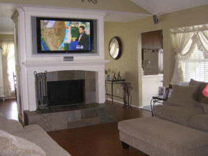TV fireplace drywall